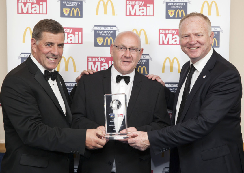 McDonald's Grassroots Awards - Best Volunteer in Youth Football Peter Frame from Loanhead, with Mark McGhee (left) and Alex McLeish